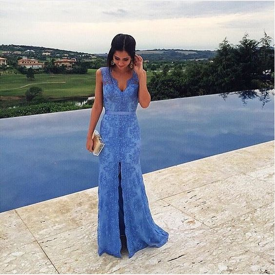 2017 Custom Made Blue Lace Prom Dress,Beading Evening Dress,Sleeveless Party Gown,V-Neck Pegeant Dress, High Quality