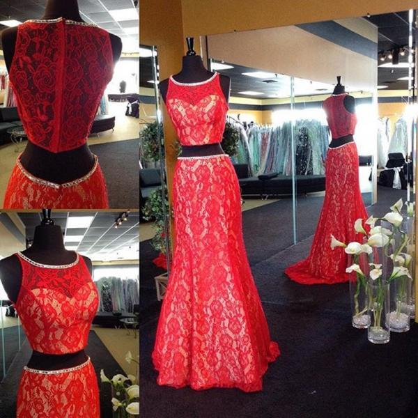 2017 Custom Made Red Lace Prom Dress,Mermaid Evening Dress,Sleeveless Sexy Dress,See Through Back Party Dress,High Quality
