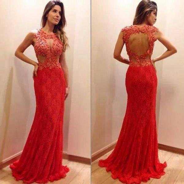 2017 Custom Made Red Chiffon Prom Dress,Lace Beaded Evening Dress, Long Sleeves Sexy Dress,Backless Hole Party Dress,High Quality