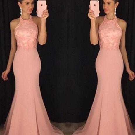 2017 Custom Made Pink Lace Prom Dress,Sexy Halter Evening Dress,Chiffon Sleeveless Party Dress,High Quality