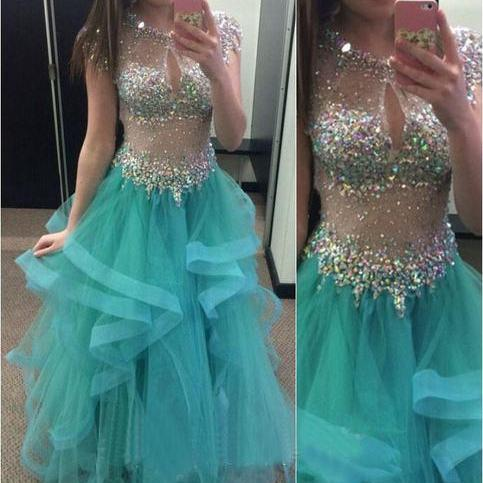2017 Custom Made Blue Prom Dress,Sexy See Through Evening Dress,Short Sleeves Party Dress,Beading Prom Dress,High Quality