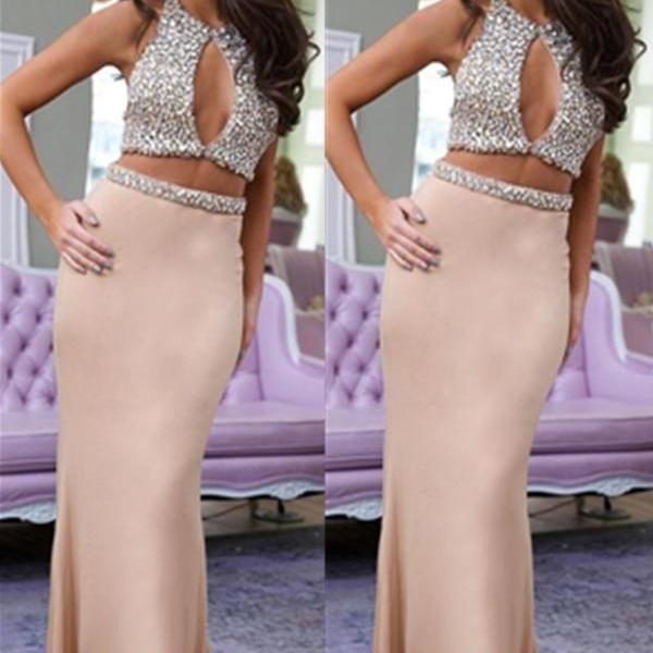 Prom Dresses,Sexy Two Pieces Beaded Prom Dresses,Mermaid Long Prom Dress For Teens,Evening Dress Long Mermaid,Prom Gowns with Beads,,Sexy Party Dresses,Two Pieces Prom Dresses