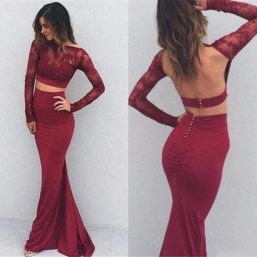 Prom Dress,Burgundy Sexy Prom Dresses,Two Pieces Prom Dresses,Backless Prom Dresses,Long Sleeves Prom Dresses,Classy Prom Gowns,Evening Dresses Mermaid Long,Prom Dresses with Sleeves,Prom Dresses Long Mermaid