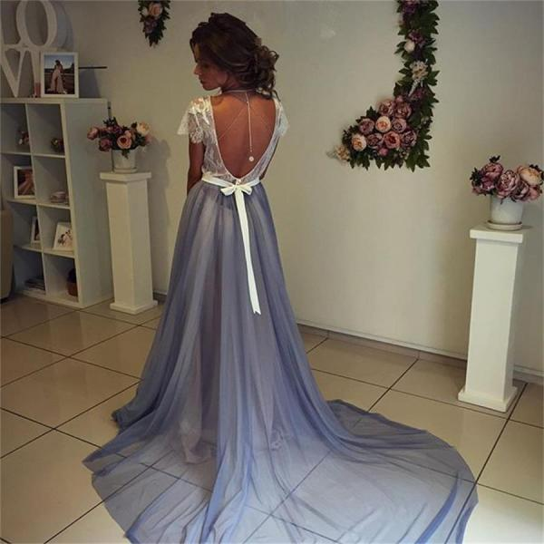 Prom Dress, Short Sleeves Prom Dress,Backless Prom Dress,A-line Blue Prom Dresses,Lace Top Prom Dress,Sexy Prom Gowns,Evening Dresses A-line Long,Prom Dresses 2016 Long,Formal Gowns for Women
