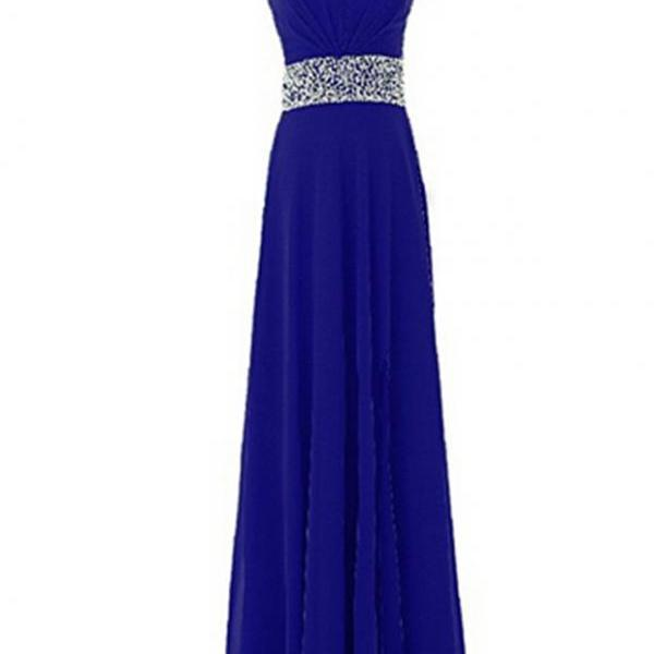 Women's Long Prom Dress Chiffon Beading Bridesmaid Dress Sequins A-Line Party Dress