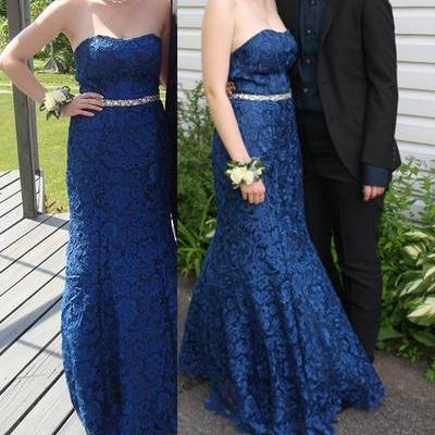 Blue Lace Sweetheart Floor Length Mermaid Formal Dress Featuring Beaded Embellished Belt, Prom Dress