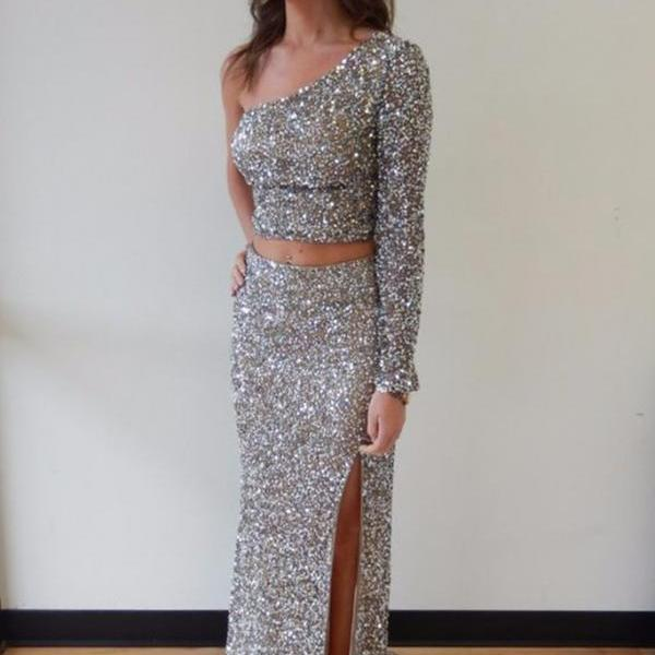 Silver chiffon sequins two pieces one sleeves slim-line slit long prom dresses,evening dress