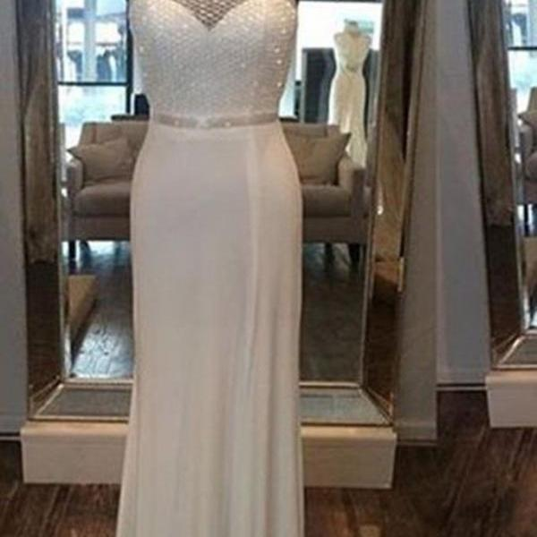 White chiffon halter sequins simple long prom dresses for teens ,shining evening dresses