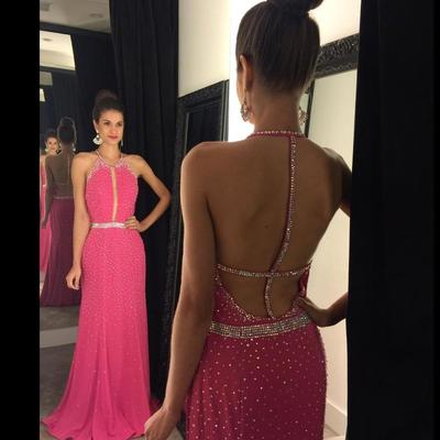 Elegant Mermaid Hot Pink Long Prom Dress with Sequins