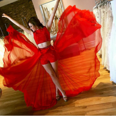 Luxurious Two Piece Long Red Prom Dress with Train