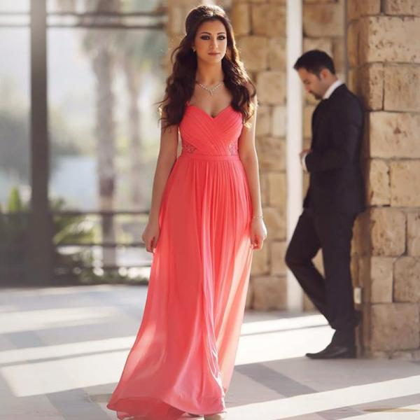 coral pink prom dress,chiffon evening dress,elegant evening gowns,long formal dress,sweetheart dresses