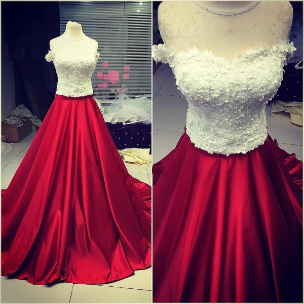 two piece prom dress,ball gowns dress,lace appliques prom dress,ball gowns prom dresses