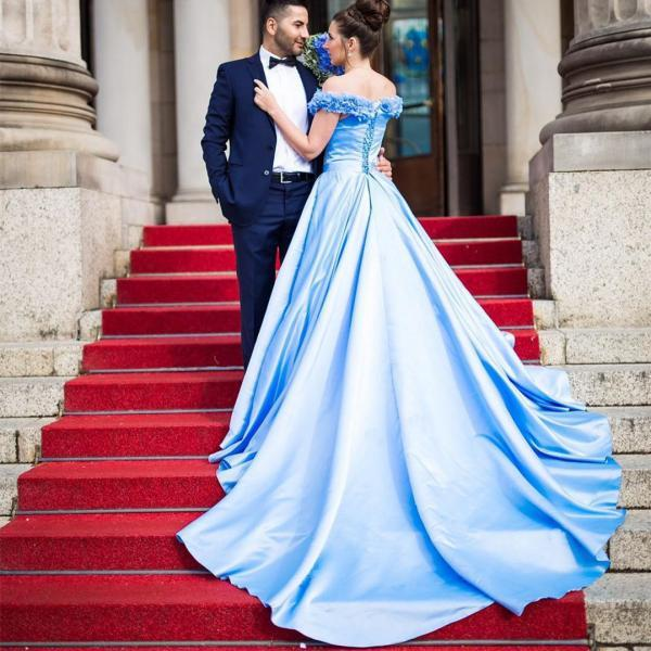 Light Blue prom dress,flower wedding dress, a line wedding gowns,elegant evening dress 2017