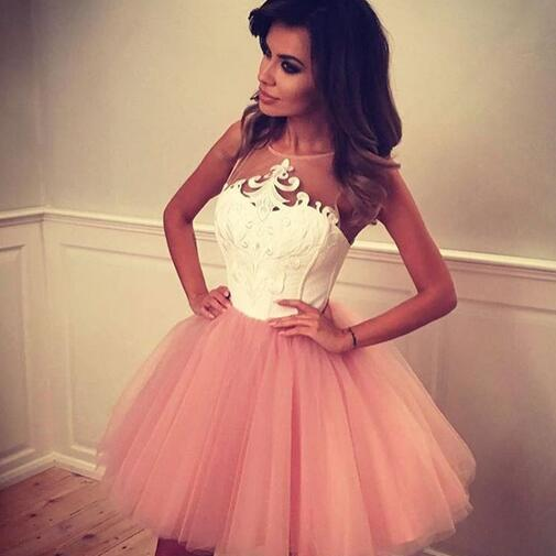 Cute A-line Short Blush Pink Prom Dress Homecoming Dress with White Top
