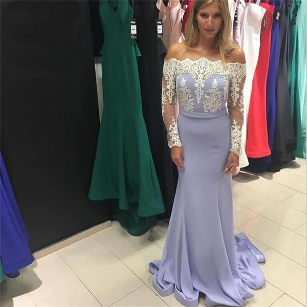 Prom Dress,Sexy Mermaid Evening Dress Long Sleeve Lace Appliques Prom Formal Party Gowns,High Quality Graduation Dresses,Wedding Guest Prom Gowns, Formal Occasion Dresses,Formal Dress