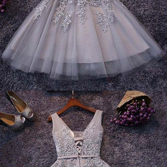 Short Prom Dress, V Neck Prom Dresses, Princess Homecoming Dress, Elegant Homecoming Dresses, Cheap Cocktail Dresses