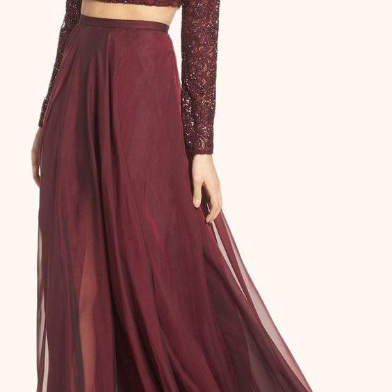 Two Piece Long Sleeves Lace Prom Gown Burgundy Formal Dress
