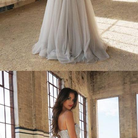 2017 Custom Made Gray Tulle Prom Dress,Spaghetti Straps Party Dress,Beaded Floor Length Evening Dress