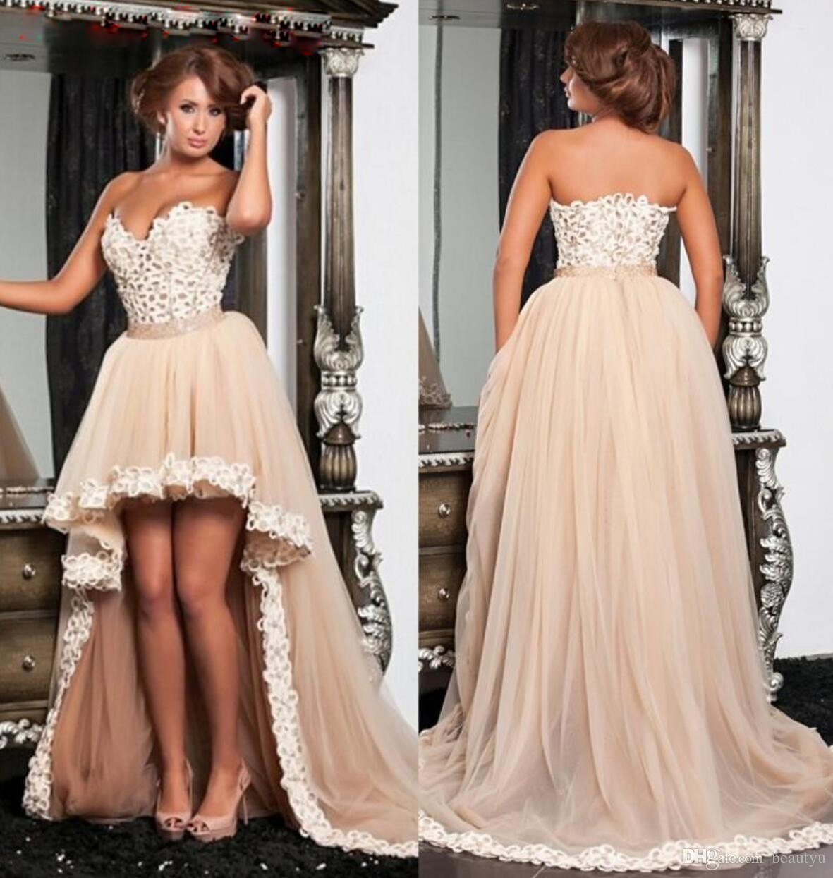 2016 New Champagne Prom Dresses High Low Tulle Sweetheart Arabic ...