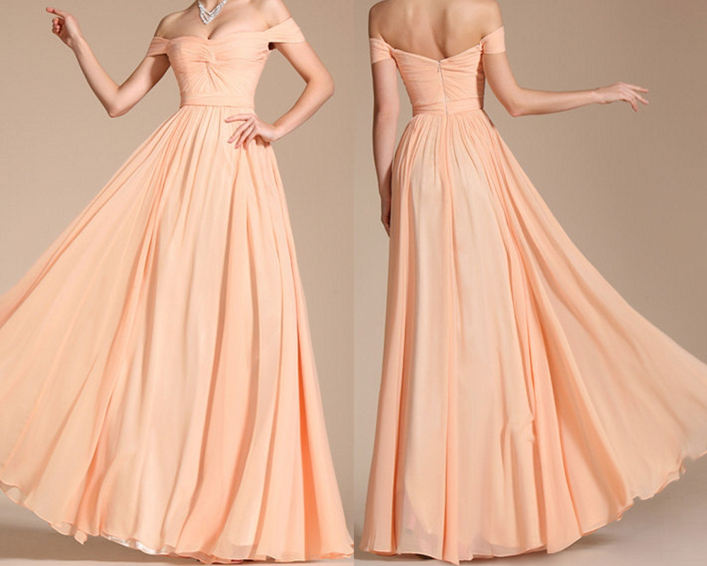 Beige Chiffon Bridesmaid Dress 2017: 2017 Custom Made Charming Chiffon Prom Dresses, Off The