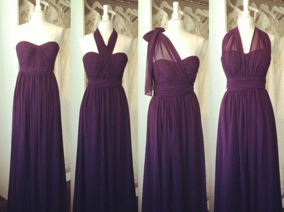 Beige Chiffon Bridesmaid Dress 2017: 2017 Custom Made Charming Chiffon Prom Dresses, Purple
